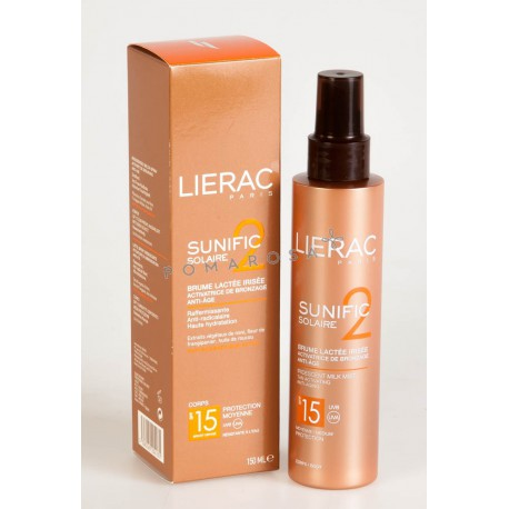Lierac Sunific 2 Solaire Brume Lactée Irisée Activatrice de Bronzage Spf15 150 ml