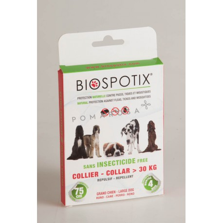 Biospotix Collier Anti-Puces Tiques et Moustiques Grand Chien + 30 Kg