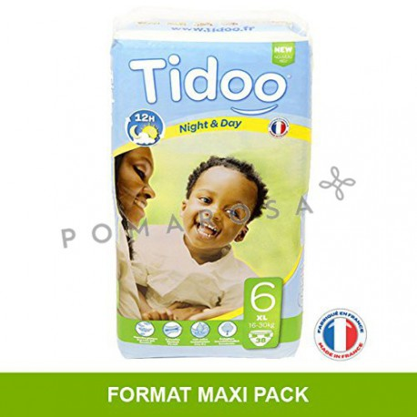 Tidoo Couches Jetables Écologiques Night & Day 6 XL 16 - 30 Kg