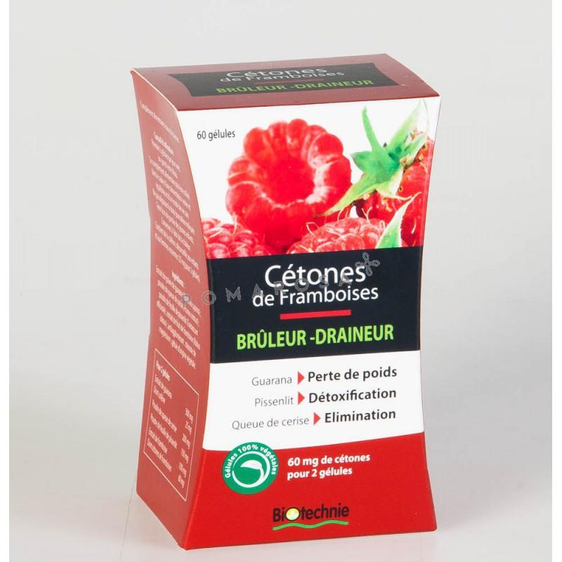 Biotechnie Cétones de Framboise Brûleur Draineur 60 Gélules