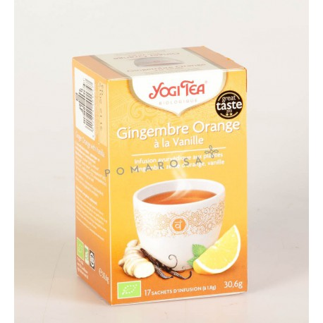 Thé Yogi Tea arômes Gingembre Orange et Vanille