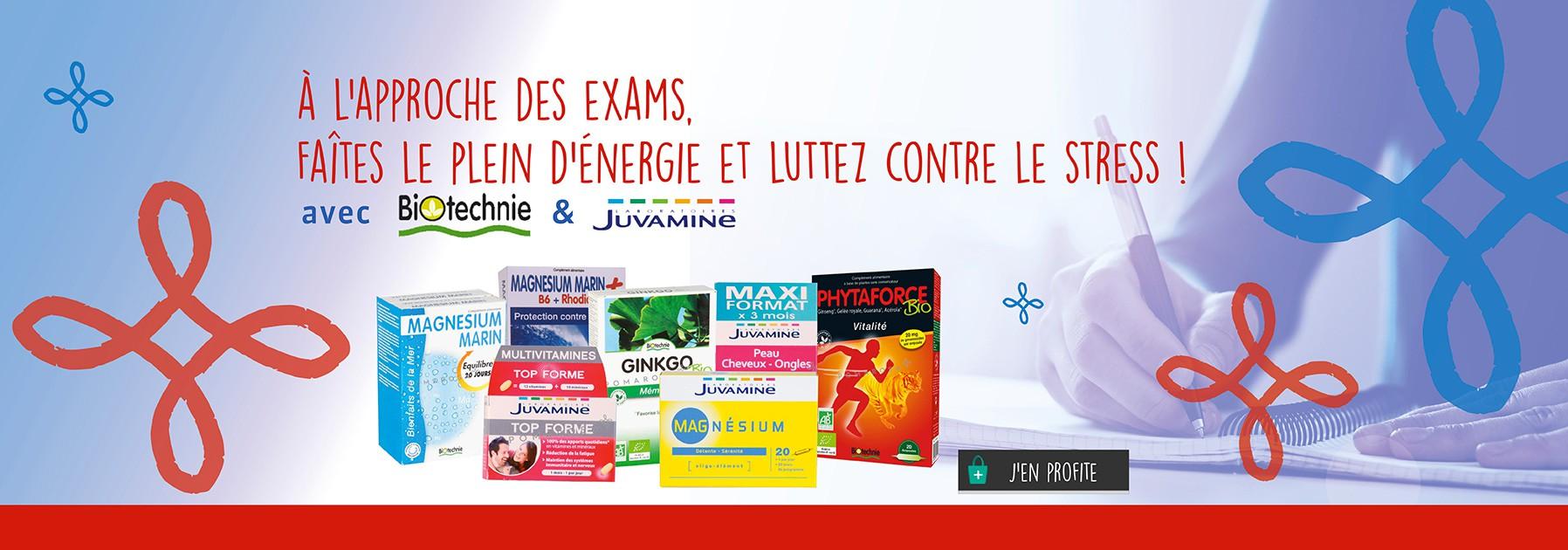 Produits Juvamine et Biotechnie spécial exams